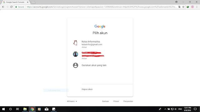 Kelas Informatika - Pilih Akun Gmail