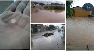 Chove forte na Serra de Cuité; trovões, relâmpagos, ventanias e até granizo foram registrados