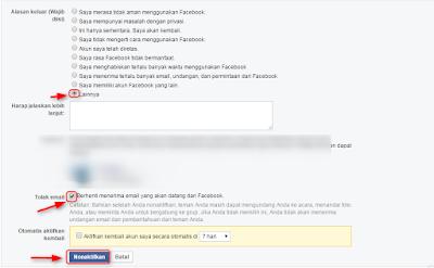 menonaktifkan akun facebook