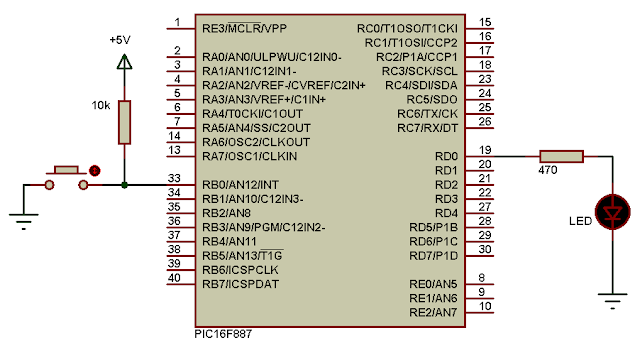 PIC16F887 external interrupt (INT) example circuit CCS PIC C