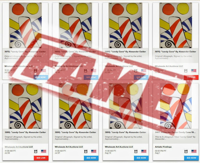 Fake Calders listed 8 times on Live Auctioneers, July-August 2014