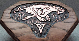 Celtic Dog Wall Plaque in copper and oak