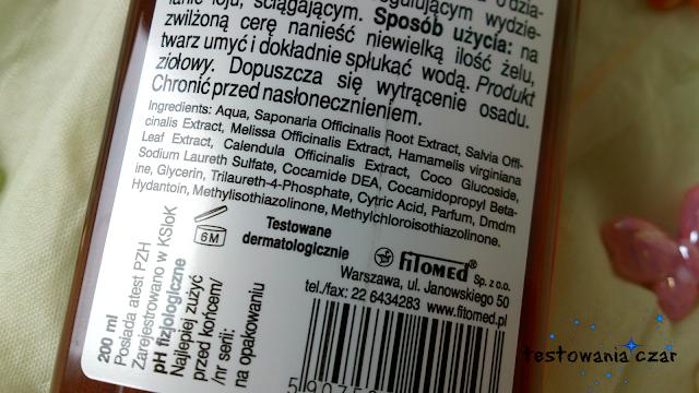 żel do mycia twarzy, cera tłusta, cera tradzikowa, cera mieszana, kosmetyki do cery trądzikowej, oczyszczanie, ziołowy żel, testowania czar