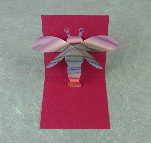 pink pop-up card with paste paper dragonfly