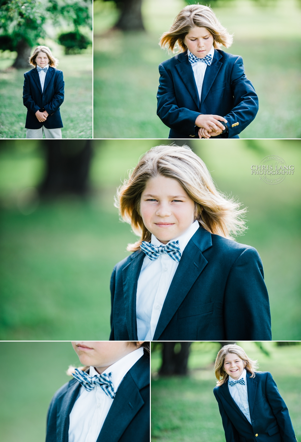 Young boy with long blond hair wearing a navy blue blazer and blue checkered  bow tie - Wilmington nc photographers