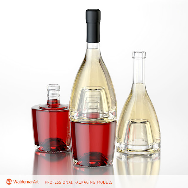 Jumeaux – 3D model of bottles for wines