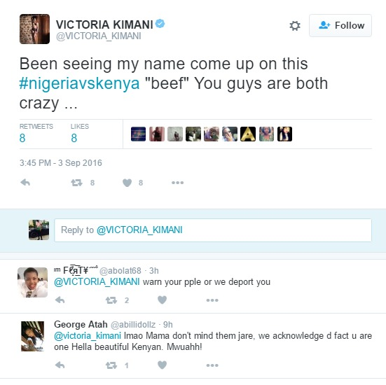 "Kenyan Artiste ""Victoria Kimani"" Reacts on the #KenyaVsNigeria Twitter War"