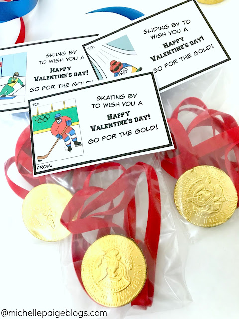 Winter Olympics Valentines with Gold Medals @michellepaigeblogs.com