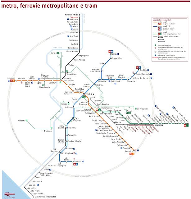 Mapa de transporte público em Roma, usando Roma Pass