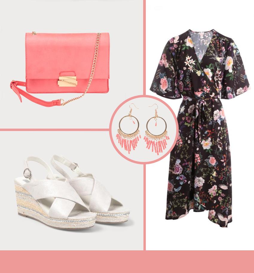 Robe kimono, sandales compensées argent, sac rose et boucles d'oreille perles rose et or