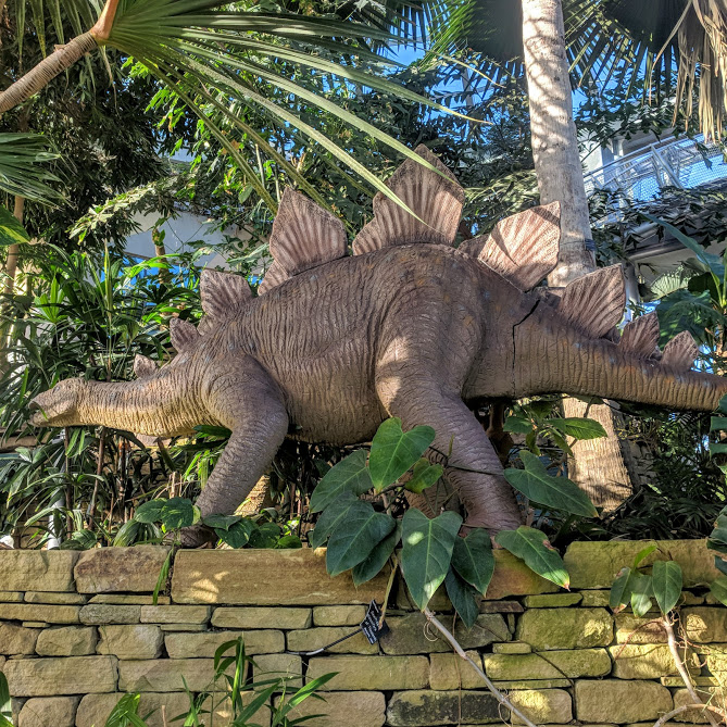5 Reasons to Visit the Leonardo da Vinci: A Life in Drawing Exhibition at Sunderland Museum & Winter Gardens with Kids - dinosaur in the gardens