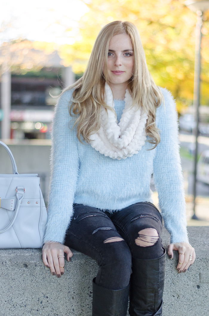How To Style A Fuzzy Knit Sweater