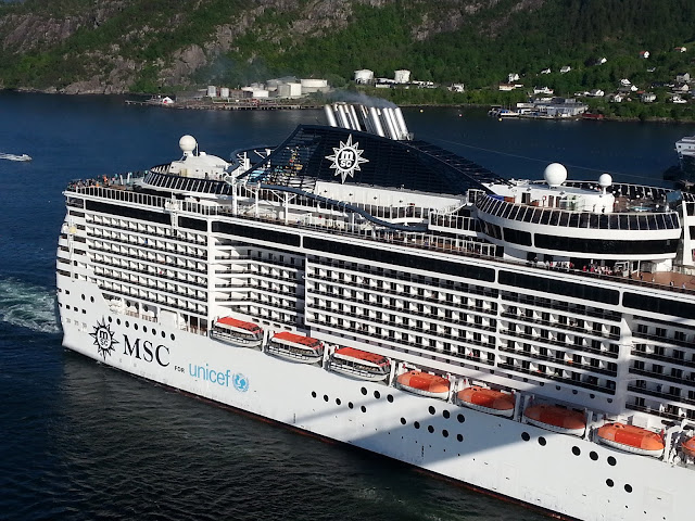 MSC Preziosa in Bergen, Norway; Cruise ship; Fjords cruise