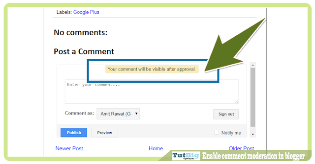 Enable comment moderation in blogger