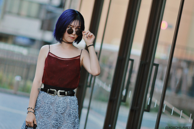Japanese Fashion Blogger,MizuhoK,20190817,OOTD, COMME CA ISM=Cami, Chicwish= skirt, Casselini=bag, zeroUV=sunglasses, Rakuten=flat shoes