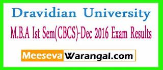 Dravidian University M.B.A Ist Sem(CBCS)-Dec 2016 Exam Results
