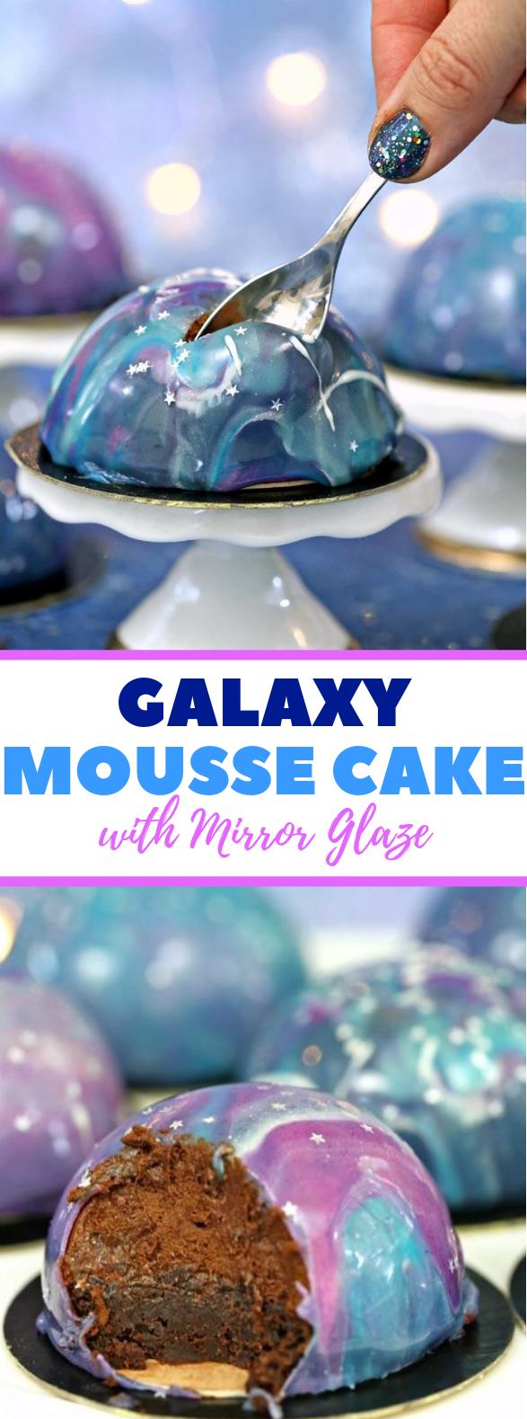 GALAXY MOUSSE CAKES WITH MIRROR GLAZE #dessert #bestrecipe