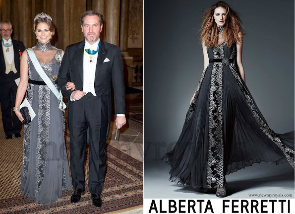 Princess Madeleine of Sweden wore Alberta Ferretti Long Dress - Princess Madeleine Style, Jewelery, Earrings, necklace, baracelet, diamond, tiara