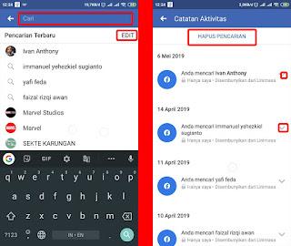 cara mudah menghapus riwayat pencarian facebook