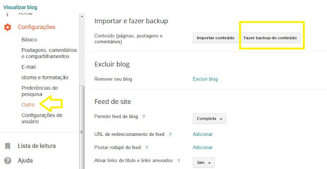 Como fazer backup do seu bloo blogger