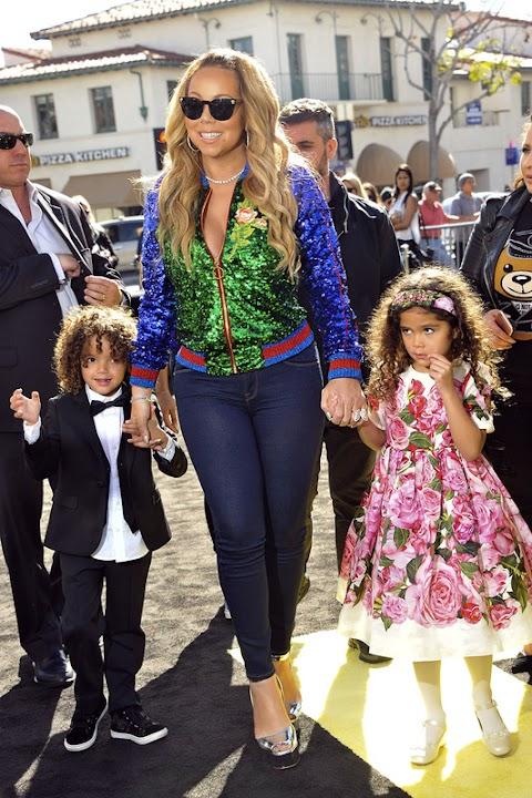 mariah carey sbrilluccicosa coi suoi bambini alla prima di lego batman