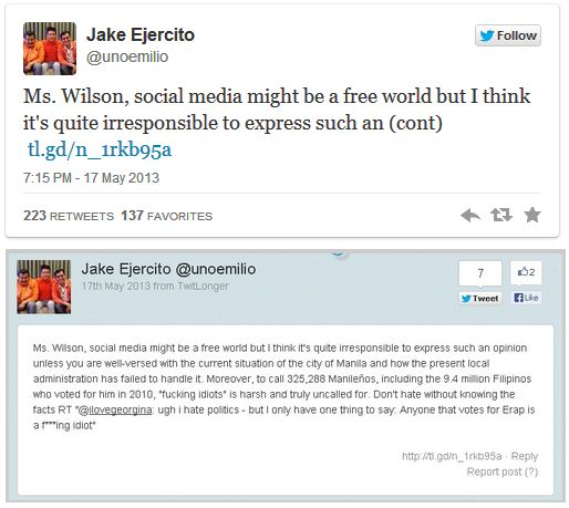 Jake Ejercito slams Georgina Wilson over harsh 'Erap ...  Jake Ejercito And Georgina Wilson