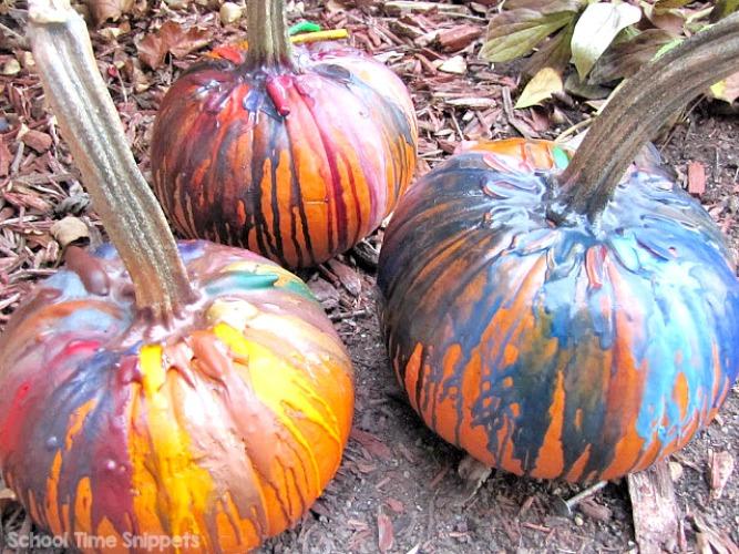 crayon pumpkin for halloween