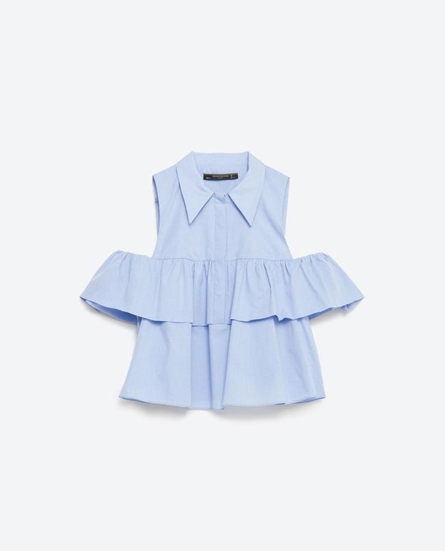 Zara寧靜藍荷葉挖肩襯衫 重複穿搭
