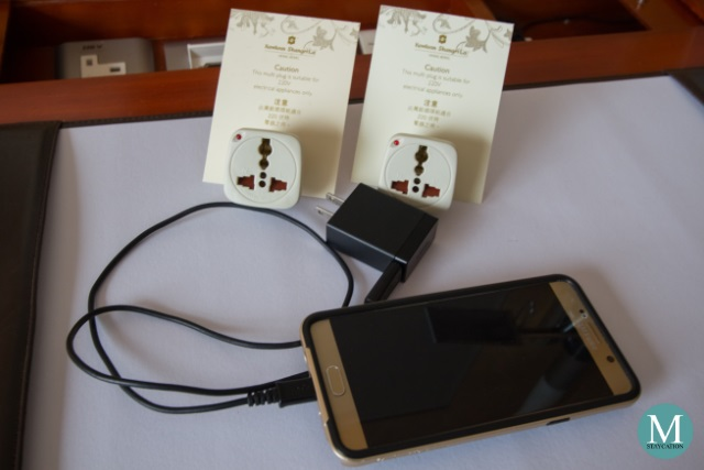 Universal Adapters at the Deluxe Harbour View Room at Kowloon Shangri-La, Hong Kong