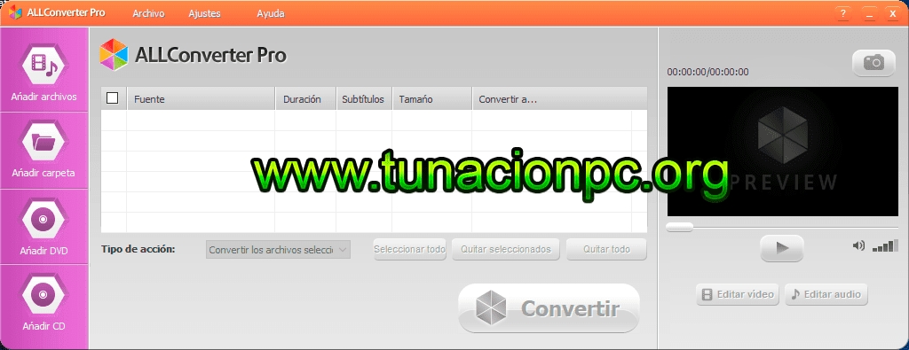 Convierte audio y video