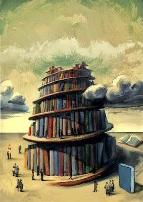 Torre de Babel hecha de libros