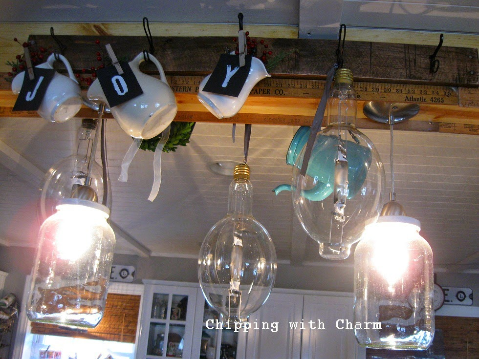 Chipping with Charm: Christmas in the kitchen, industrial bulbs...http://www.chippingwithcharm.blogspot.com/