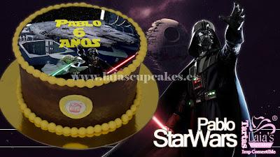 Tarta personalizada fondant Star Wars Darth Vader Yoda Laia's Cupcakes Puerto Sagunto