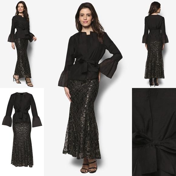 Fesyen Baju Kurung Moden Terkini 2016 2017 Design By Zolace - The Bold Standard Black