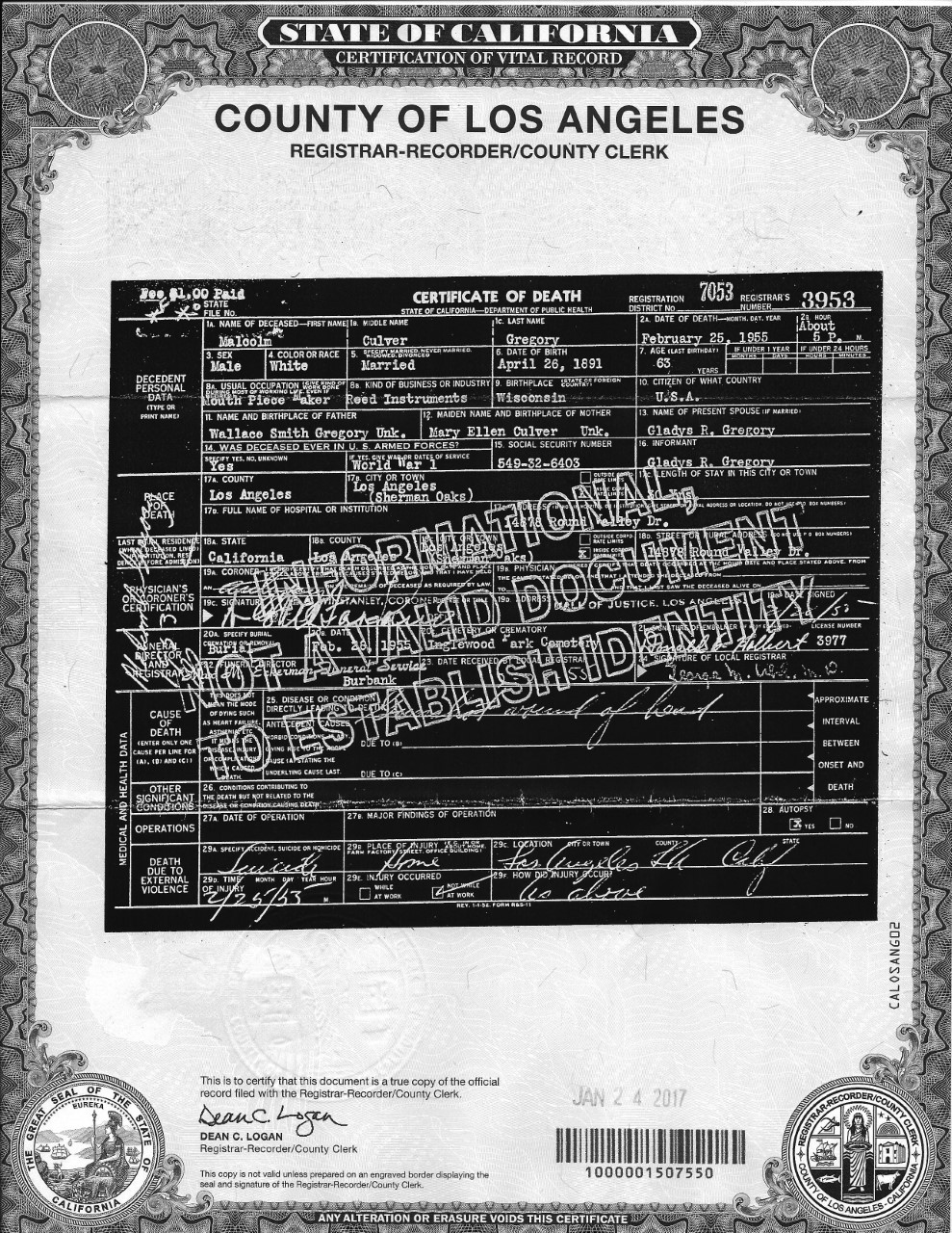 Stuff sax the gregory mouthpiece saga part viii epilogue we obtained malcolm gregorys death certificate from the los angeles county clerks office xflitez Image collections