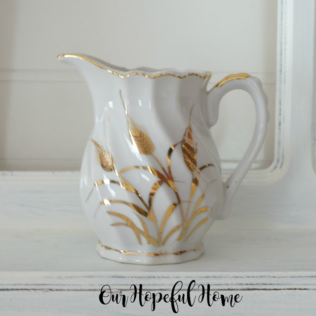 Lefton china gold wheat pattern creamer 1950's