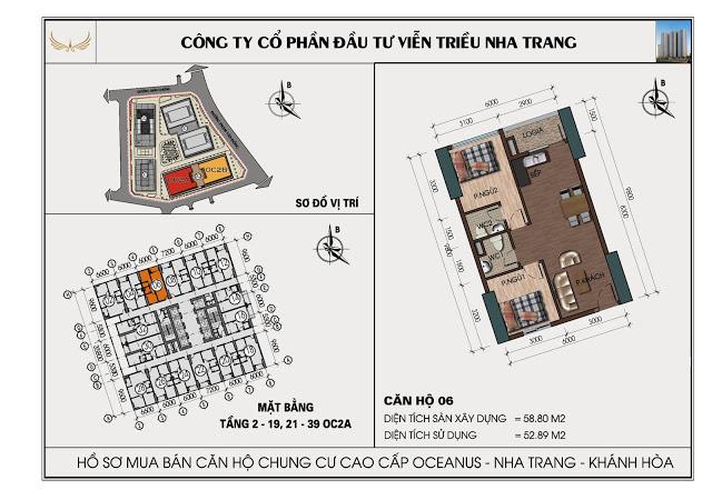 Sơ đồ căn hộ số 06 tòa OC2A Viễn Triều Nha Trang