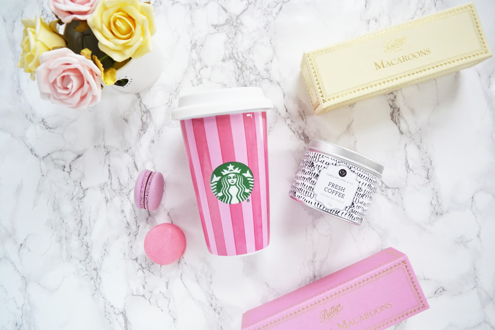 pink starbucks cup from benefit cosmetics