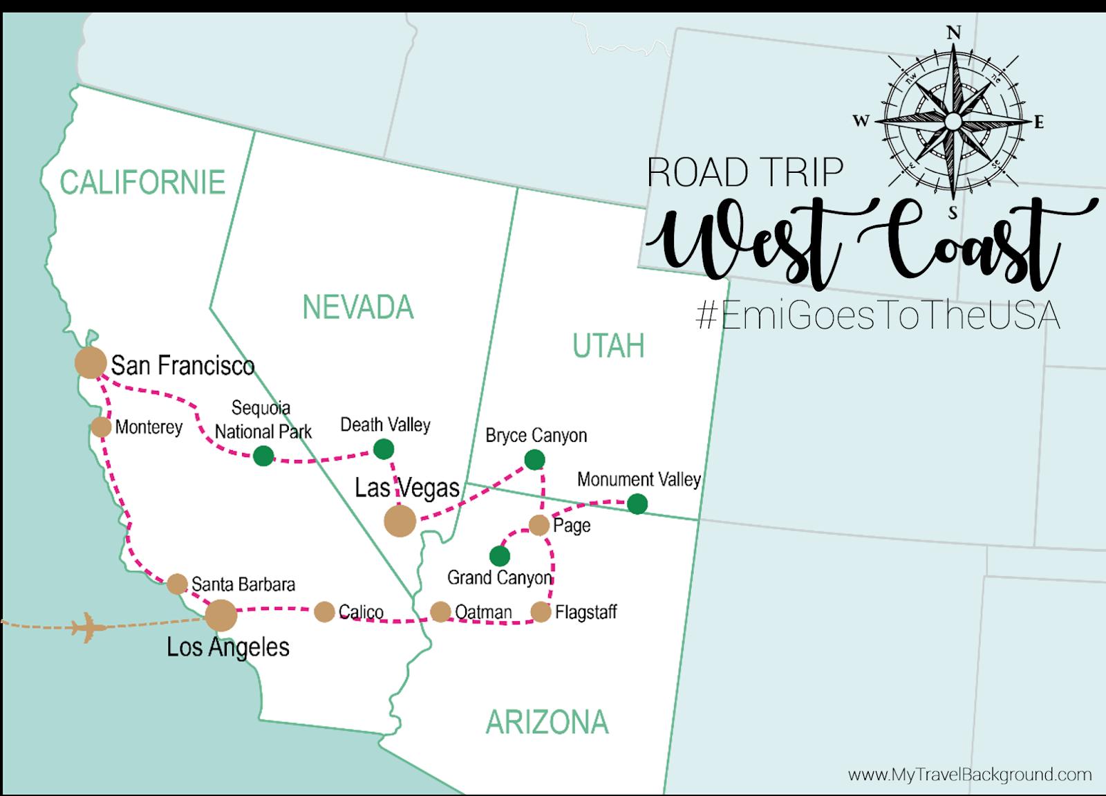My Travel Background : mon road trip sur la côté Ouest des Etats-Unis - USA - Itinéraire