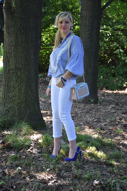 blue and white striped shirt mariafelicia magno fashion blogger color block by felym fashion bloggers italy italian fashion bloggers june outfits summer outfits