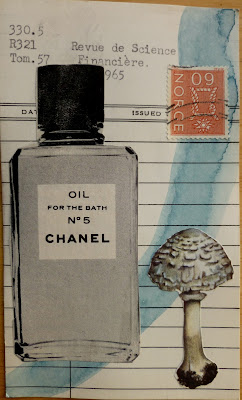 Marx political philosophy vintage perfume ad Chanel no. 5 mushroom postage stamp library card Dada Fluxus mail art collage