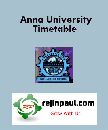 Anna University Time Table 2016 UG PG April May June