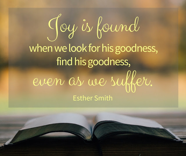 Joy is found when we look for his goodness, find his goodness, even as we suffer.