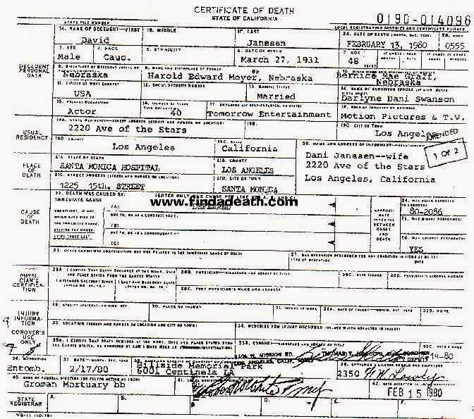 David Janssen death certificate DJ Pinterest Death certificate - lease contract format