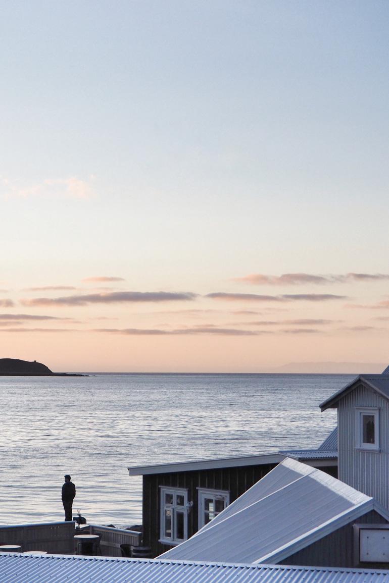 Coucher de soleil - vue sur l'océan depuis l'auberge Grundarfjörður