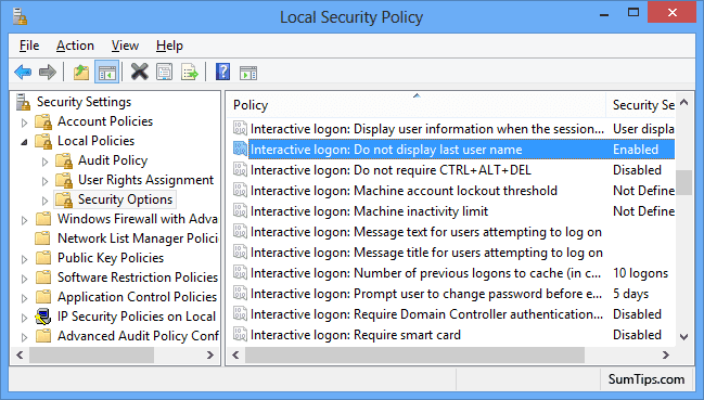 Windows 8 Local Security Policy