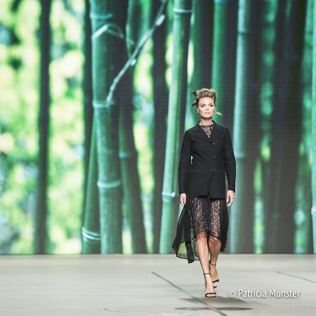 Kim Feenstra opens Tony Cohen's fashion show at Amsterdam Fashion Week