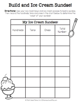 kids can build their own Ice Cream Sundae Place Value and record them on this place value worksheet for kids