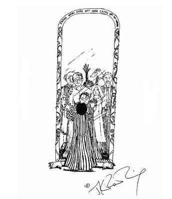 Disegno di J.K. Rowling: Harry vede la sua famiglia nello Specchio delle Brame