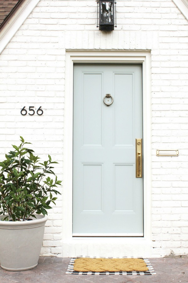light blue front door, front entrance, front door